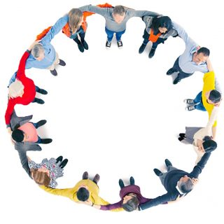 Business people in circle